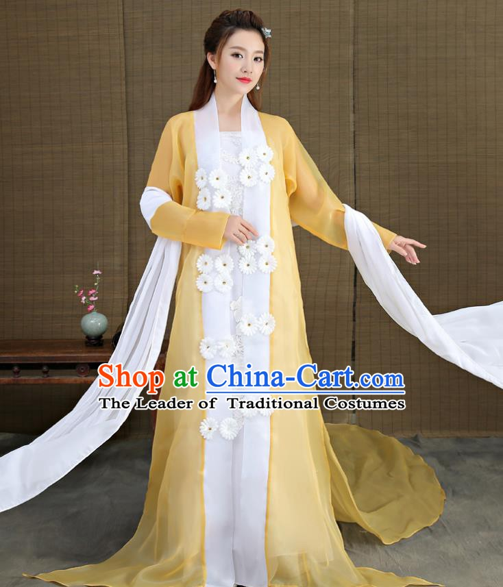 Traditional Chinese Ancient Fairy Princess Costume, China Tang Dynasty Palace Lady Embroidered Hanfu Clothing for Women