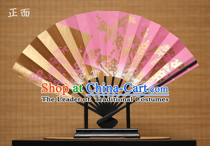 Traditional Chinese Crafts Printing Pineburst Pink Paper Folding Fan Sensu Fans for Women