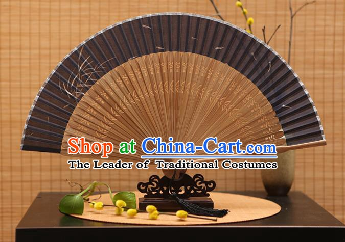 Traditional Chinese Crafts Printing Orchid Black Silk Folding Fan Sensu Fans for Women