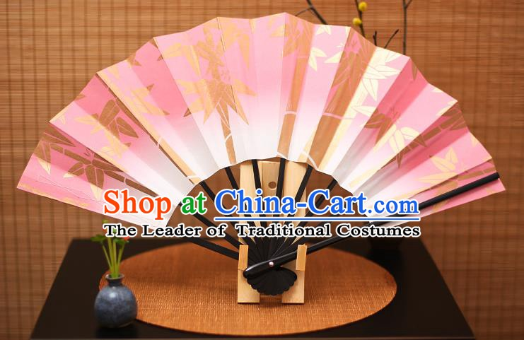Traditional Chinese Crafts Printing Bamboo Pink Paper Folding Fan Sensu Fans for Women