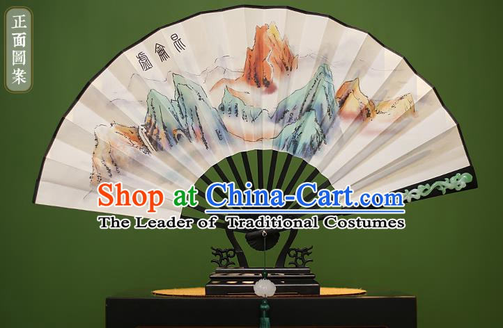Traditional Chinese Crafts Printing Kunlun Mountains Folding Fan Paper Fans for Men