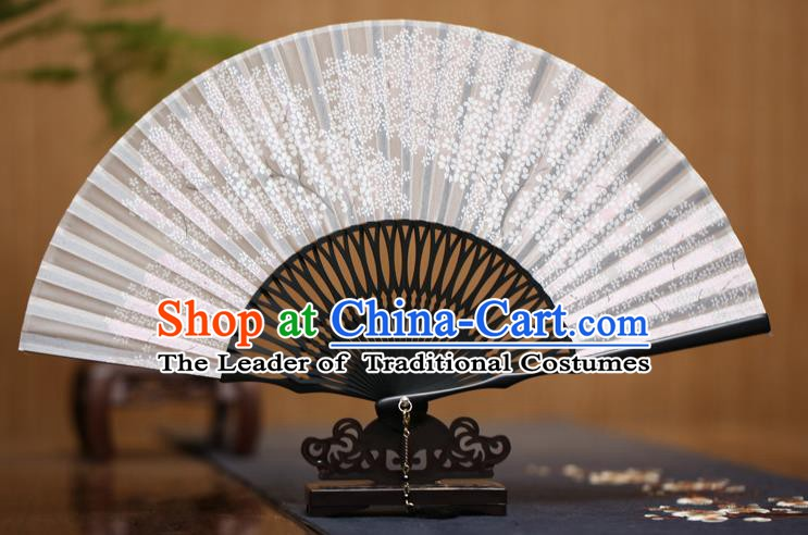 Traditional Chinese Crafts Printing Oriental Cherry Folding Fan Paper Fans for Men