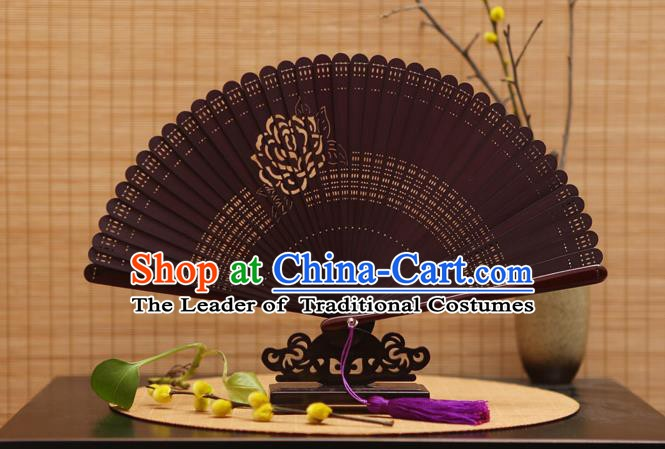 Traditional Chinese Crafts Printing Rose Folding Fan Hollow Out Bamboo Fans for Women