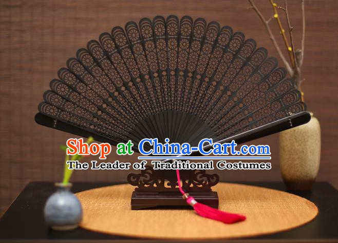 Traditional Chinese Crafts Black Folding Fan Hollow Out Bamboo Fans for Women
