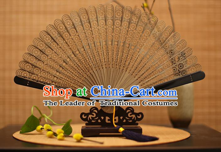Traditional Chinese Crafts Brown Folding Fan Hollow Out Bamboo Fans for Women