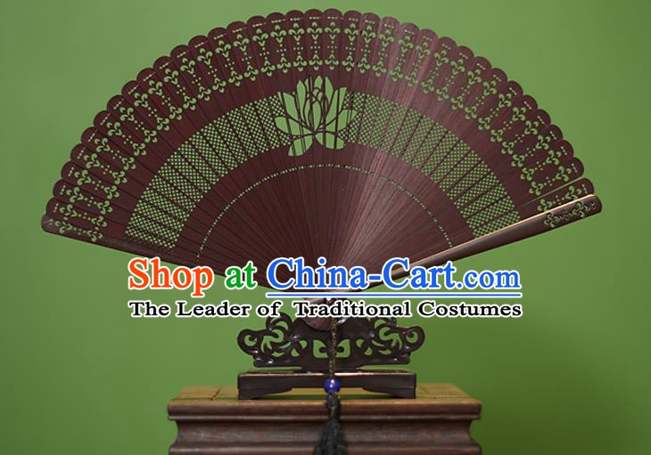 Traditional Chinese Crafts Red Folding Fan Hollow Out Lotus Bamboo Fans for Women