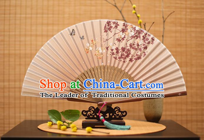 Traditional Chinese Crafts Printing Oriental Cherry Folding Fan, China Beijing Opera Silk Fans for Women