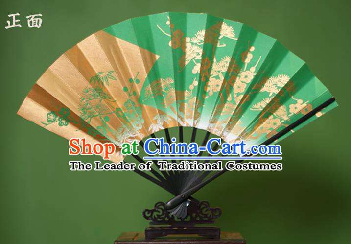 Traditional Chinese Crafts Printing Pineburst Green Paper Folding Fan Sensu Fans for Women