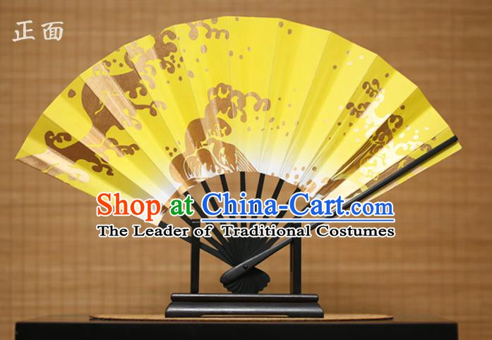 Traditional Chinese Crafts Printing Yellow Paper Folding Fan Sensu Fans for Women