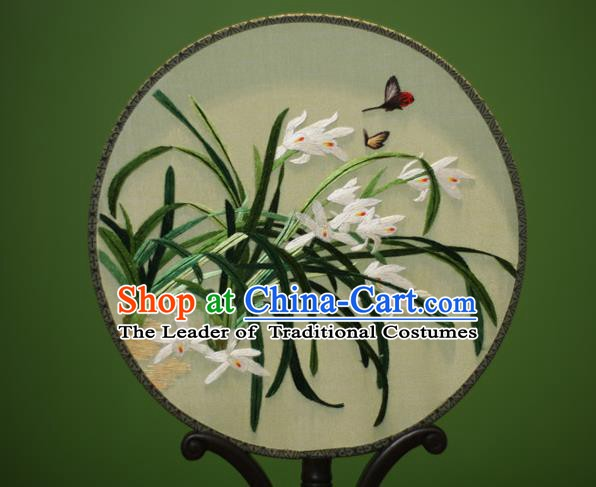 Traditional Chinese Crafts Embroidered Orchid Round Fan, China Palace Fans Princess Silk Circular Fans for Women