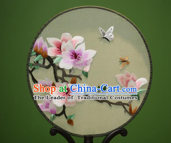 Traditional Chinese Crafts Embroidered Magnolia Round Fan, China Palace Fans Princess Silk Circular Fans for Women