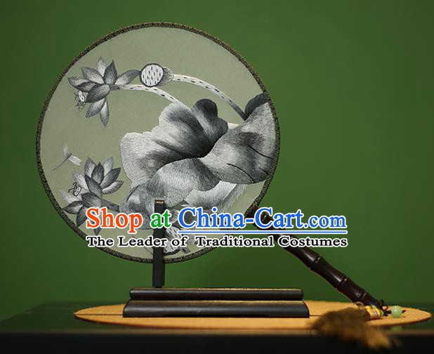 Traditional Chinese Crafts Embroidered Lotus Round Fan, China Palace Fans Princess Silk Circular Fans for Women