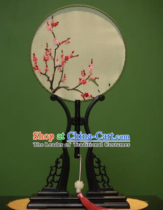 Traditional Chinese Crafts Embroidered Wintersweet Round Fan, China Palace Fans Princess Silk Circular Fans for Women