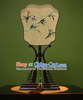 Traditional Chinese Crafts Embroidered Bamboo Silk Fan, China Palace Fans Princess Square Fans for Women