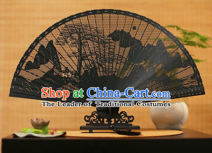 Traditional Chinese Crafts Black Sandalwood Folding Fan, Chinese Hollow Out Pine Fans Bamboo Fans for Women