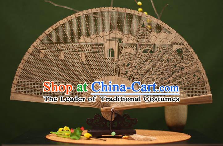 Traditional Chinese Crafts Sandalwood Folding Fan, Chinese Hollow Out Leifeng Pagoda Bamboo Fans for Women