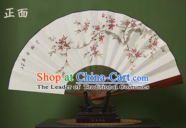 Traditional Chinese Crafts Ink Painting Peach Blossom Folding Fan, China Handmade Xuan Paper Fans for Men