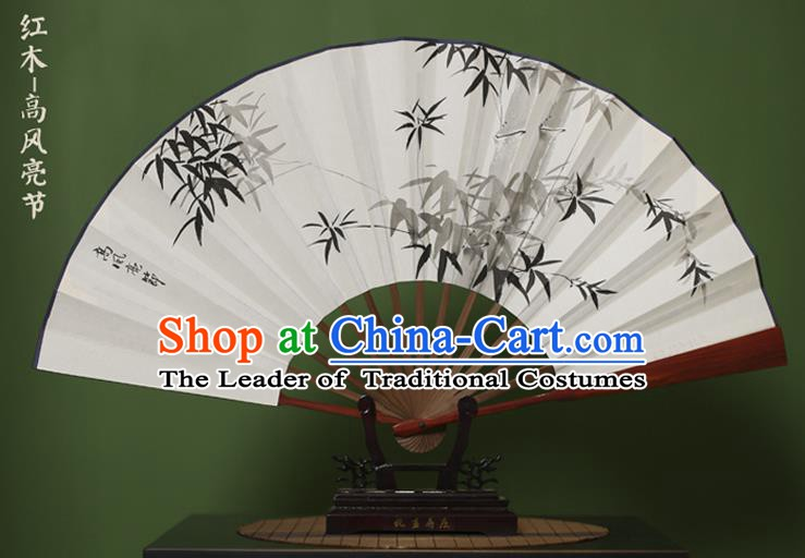 Traditional Chinese Crafts Ink Painting Bamboo Folding Fan, China Handmade Xuan Paper Fans for Men