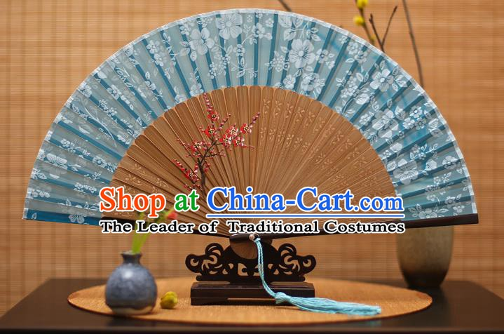 Traditional Chinese Crafts Folding Fan, China Printing Plum Blossom Blue Silk Fans for Women