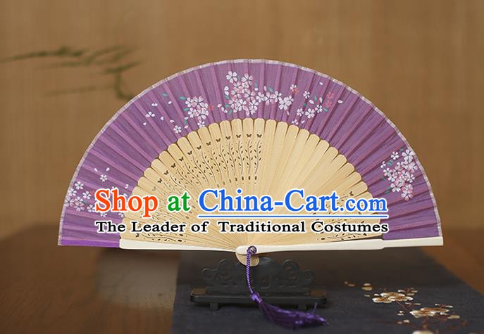 Traditional Chinese Crafts Folding Fan, China Printing Flowers Purple Silk Fans for Women