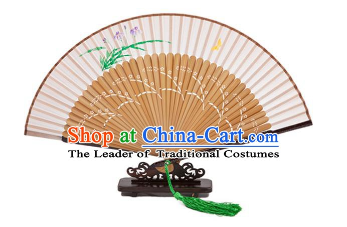 Traditional Chinese Crafts Folding Fan, China Printing Orchid Silk Fans for Women