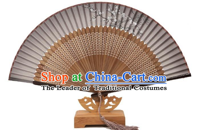 Traditional Chinese Crafts Folding Fan, China Printing Plum Blossom Black Silk Fans for Women