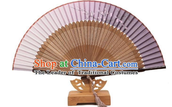 Traditional Chinese Crafts Folding Fan, China Printing Plum Blossom Lilac Silk Fans for Women