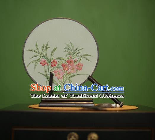 Traditional Chinese Crafts Round Silk Fan, China Palace Fans Princess Printing Flowers Circular Fans for Women