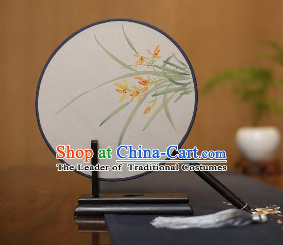 Traditional Chinese Crafts Round Silk Fan, China Palace Fans Princess Printing Orchid Circular Fans for Women