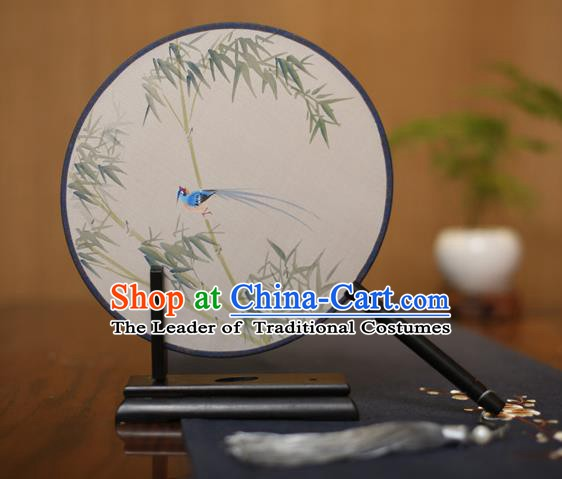 Traditional Chinese Crafts Round Silk Fan, China Palace Fans Princess Printing Bamboo Circular Fans for Women