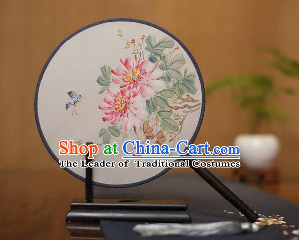 Traditional Chinese Crafts Round Silk Fan, China Palace Fans Princess Printing Peony Circular Fans for Women