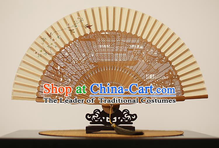 Traditional Chinese Crafts Hand Painting Silk Folding Fan, China Handmade Hollow Out Bamboo Fans for Women