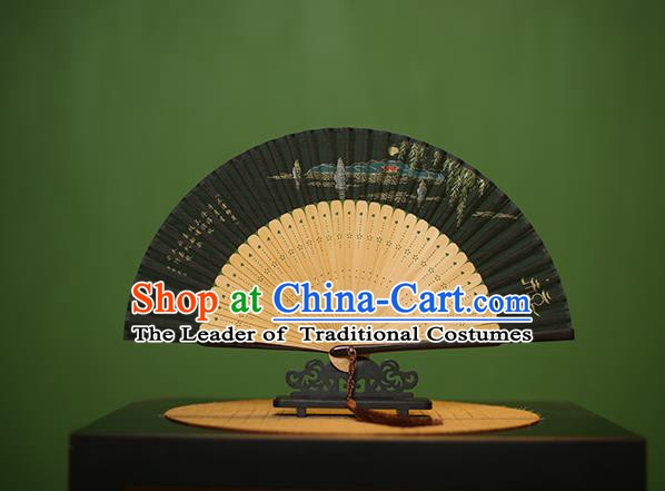 Traditional Chinese Crafts Hand Painting West Lake Silk Folding Fan, China Handmade Bamboo Fans for Women
