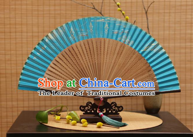 Traditional Chinese Crafts Hand Painting West Lake Blue Silk Folding Fan, China Handmade Bamboo Fans for Women