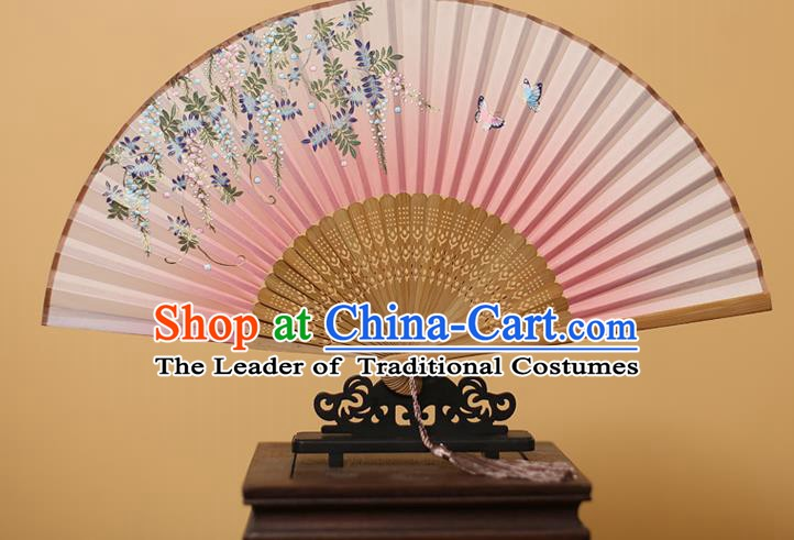 Traditional Chinese Crafts Printing Wisteria Pink Folding Fan, China Handmade Bamboo Fans for Women