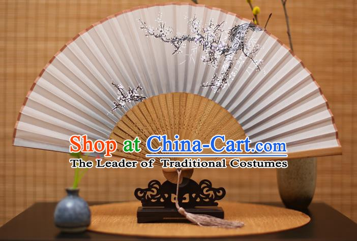 Traditional Chinese Crafts Printing Wintersweet Grey Folding Fan, China Handmade Bamboo Fans for Women