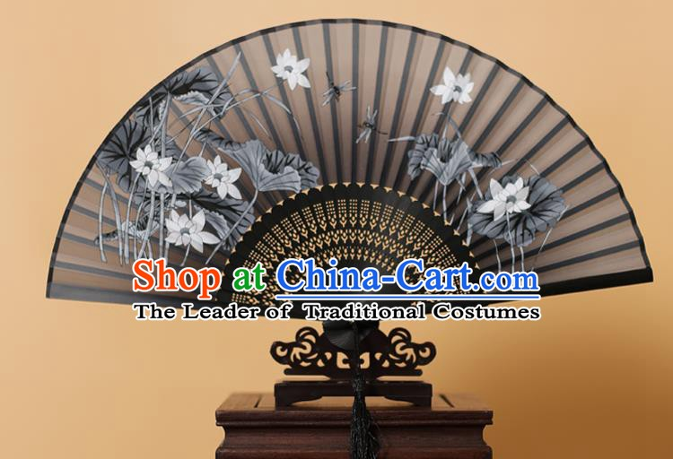 Traditional Chinese Crafts Printing Lotus Black Folding Fan, China Handmade Bamboo Fans for Women