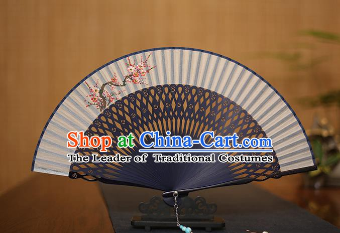 Traditional Chinese Crafts Printing Wintersweet Folding Fan, China Handmade Bamboo Fans for Women