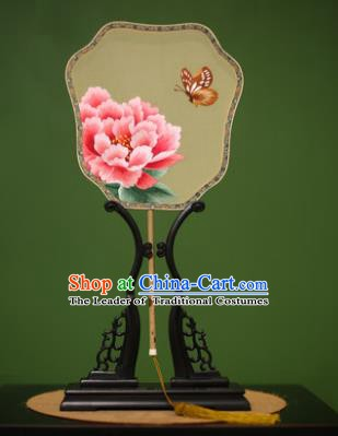 Traditional Chinese Crafts Suzhou Embroidery Silk Fan, China Palace Fans Princess Embroidered Peony Fans for Women