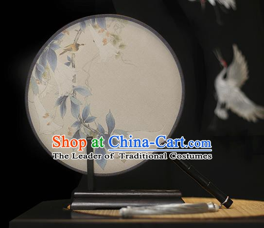 Traditional Chinese Crafts Printing Petunia Silk Round Fan, China Palace Fans Princess Circular Fans for Women