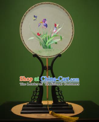 Traditional Chinese Crafts Suzhou Embroidery Silk Fan, China Palace Fans Princess Embroidered Orchid Fans for Women