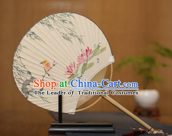 Traditional Chinese Crafts Printing Lotus Paper Fan, China Palace Fans Princess Round Fans for Women