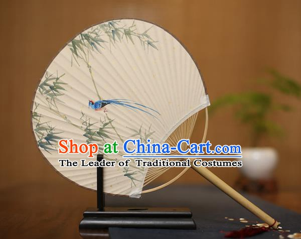 Traditional Chinese Crafts Ink Painting Bamboo Paper Fan, China Palace Fans Princess Round Fans for Women