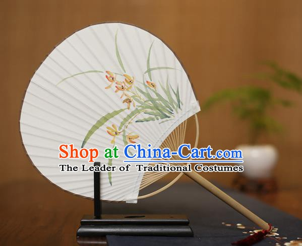Traditional Chinese Crafts Ink Painting Orchid Paper Fan, China Palace Princess Fans for Women