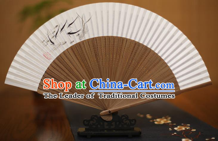 Traditional Chinese Crafts Printing Fishes Folding Fan, China Handmade Xuan Paper Fans for Women