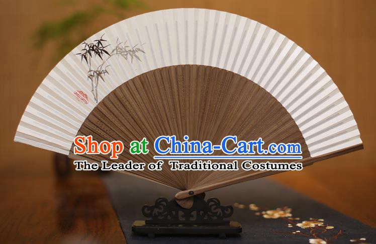 Traditional Chinese Crafts Printing Bamboo Folding Fan, China Handmade Xuan Paper Fans for Women
