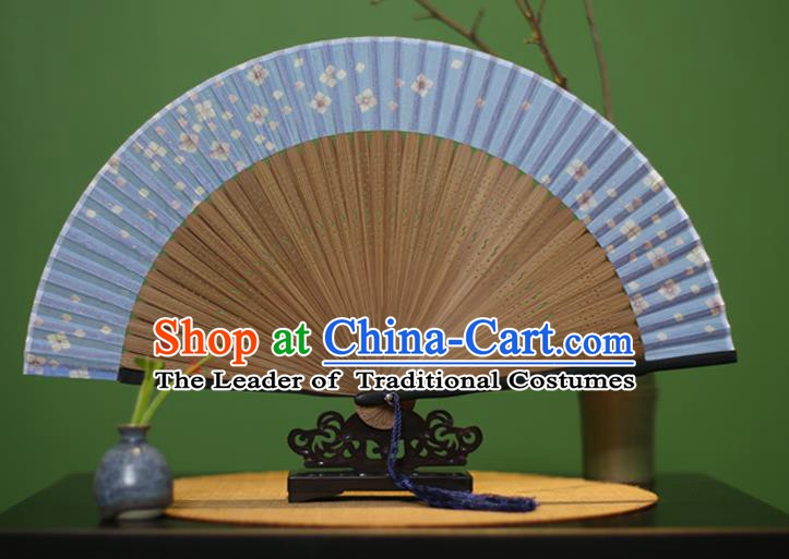 Traditional Chinese Crafts Printing Flowers Classical Folding Fan, China Handmade Light Blue Silk Fans for Women