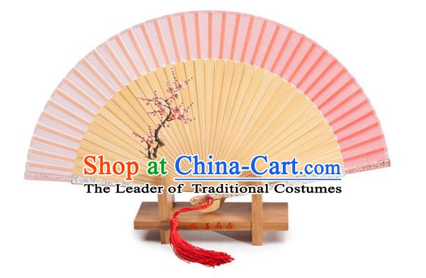 Traditional Chinese Crafts Pink Silk Folding Fan, China Handmade Printing Plum Blossom Bamboo Fans for Women