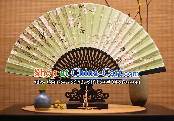 Traditional Chinese Crafts Printing Flowers Classical Folding Fan, China Handmade Green Silk Fans for Women