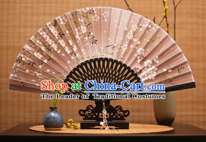 Traditional Chinese Crafts Printing Flowers Classical Folding Fan, China Handmade Brown Silk Fans for Women